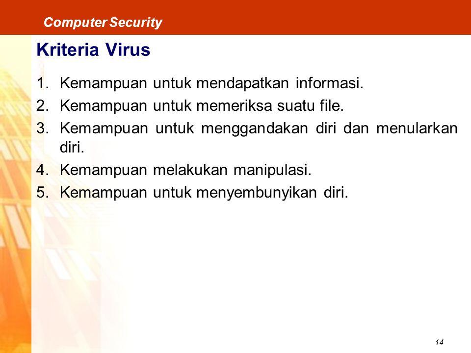14 Computer Security Kriteria Virus 1.Kemampuan untuk mendapatkan informasi. 2.Kemampuan untuk memeriksa suatu file. 3.Kemampuan untuk menggandakan di