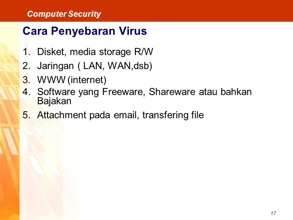 17 Computer Security Cara Penyebaran Virus 1.Disket, media storage R/W 2.Jaringan ( LAN, WAN,dsb) 3.WWW (internet) 4.Software yang Freeware, Shareware