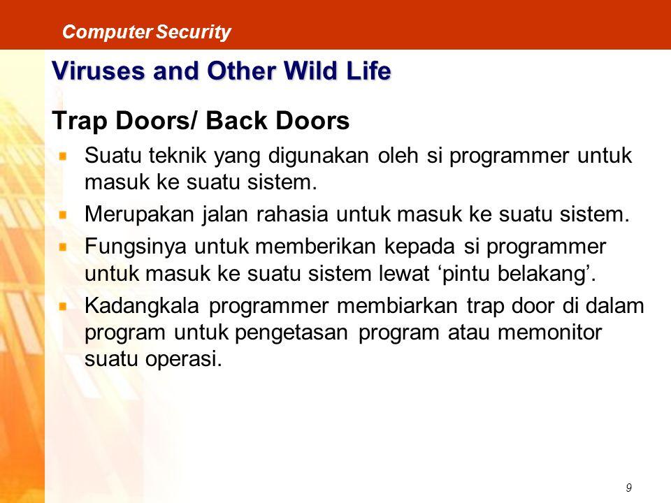 9 Computer Security Viruses and Other Wild Life Trap Doors/ Back Doors Suatu teknik yang digunakan oleh si programmer untuk masuk ke suatu sistem. Mer