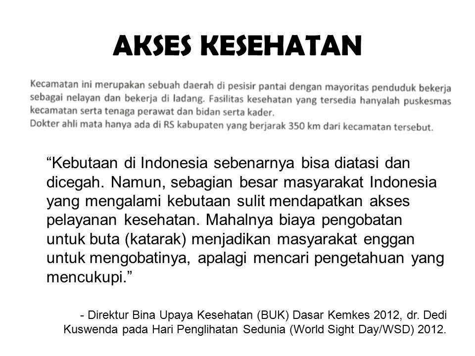 """AKSES KESEHATAN """"Kebutaan di Indonesia sebenarnya bisa diatasi dan dicegah. Namun, sebagian besar masyarakat Indonesia yang mengalami kebutaan sulit m"""