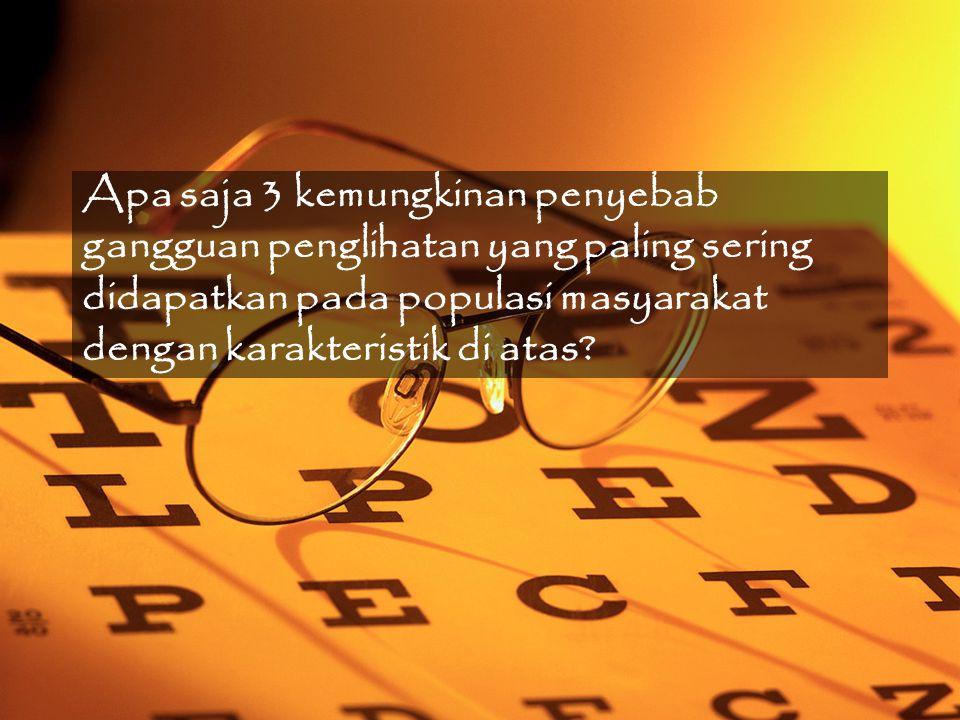 FAKTOR RESIKO KOMUNITAS Katarak Usia –45-64 tahun: 492,2 /100.000 –Komunitas: 105.000 jiwa (43% komunitas) –Total: ~500 orang Pajanan UVB Gender –Risiko wanita > Pria (1,8:1) Glaukoma Usia –2% > 40 tahun –Up to 10% pada > 80 tahun –50% mungkin undiagnosed Asia: acute angle-closure glaucoma Penyakit sistemik: Hipertensi (HT) –Salah satu komunitas HT Indonesia: Nelayan –45,7% pasien OAG juga punya HT Allen D.