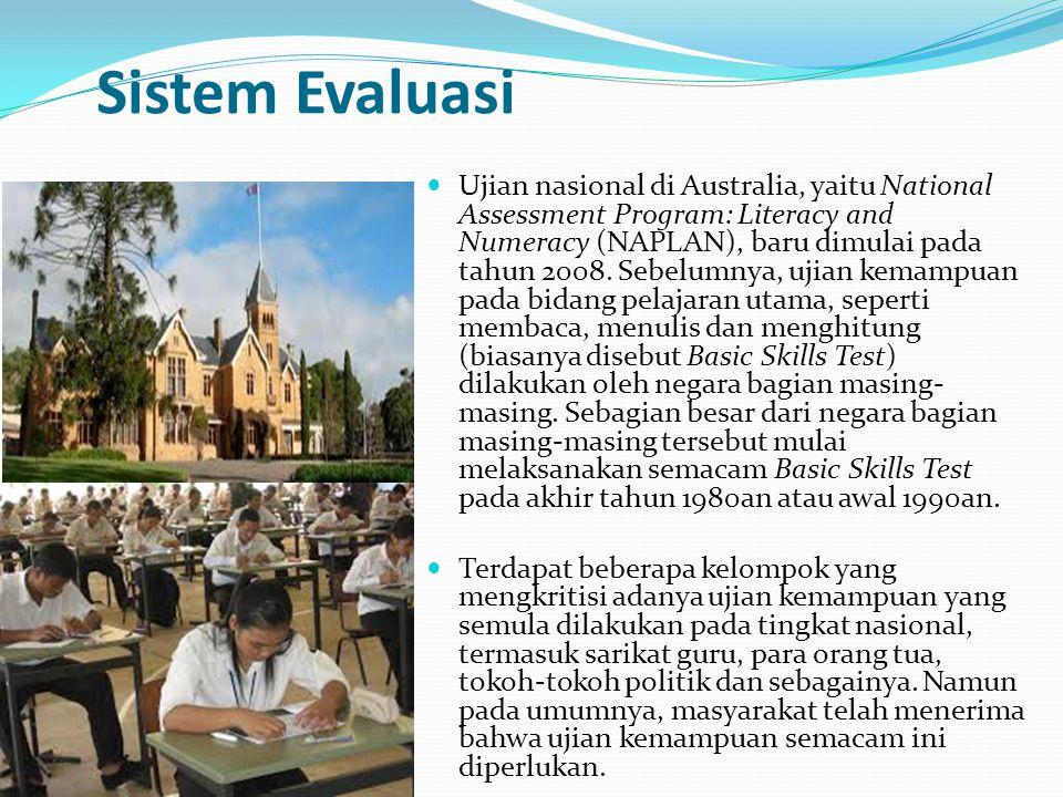 Sistem Evaluasi Ujian nasional di Australia, yaitu National Assessment Program: Literacy and Numeracy (NAPLAN), baru dimulai pada tahun 2008. Sebelumn