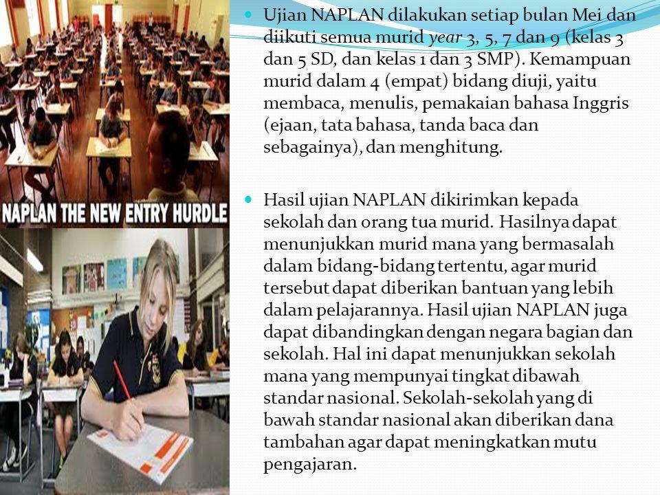 Ujian NAPLAN dilakukan setiap bulan Mei dan diikuti semua murid year 3, 5, 7 dan 9 (kelas 3 dan 5 SD, dan kelas 1 dan 3 SMP). Kemampuan murid dalam 4