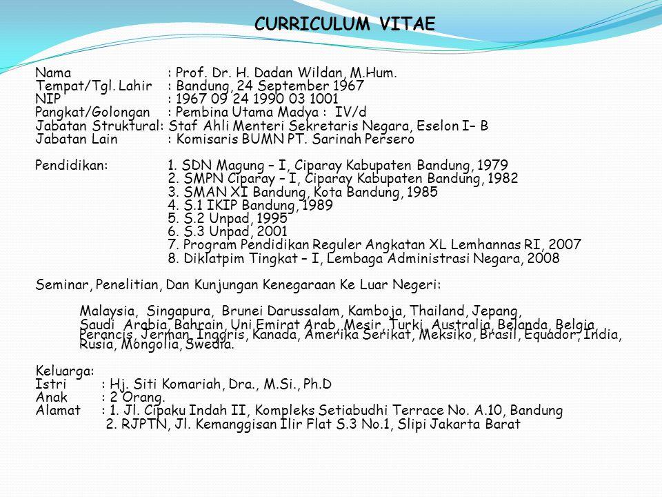 CURRICULUM VITAE Nama: Prof. Dr. H. Dadan Wildan, M.Hum. Tempat/Tgl. Lahir: Bandung, 24 September 1967 NIP: 1967 09 24 1990 03 1001 Pangkat/Golongan :