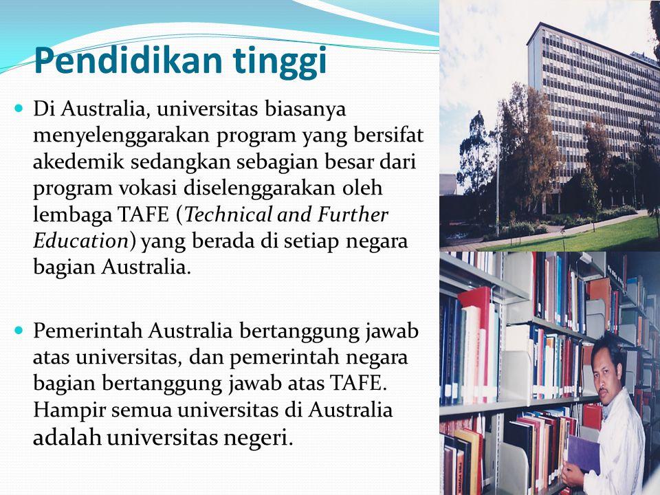 Pendidikan tinggi Di Australia, universitas biasanya menyelenggarakan program yang bersifat akedemik sedangkan sebagian besar dari program vokasi dise