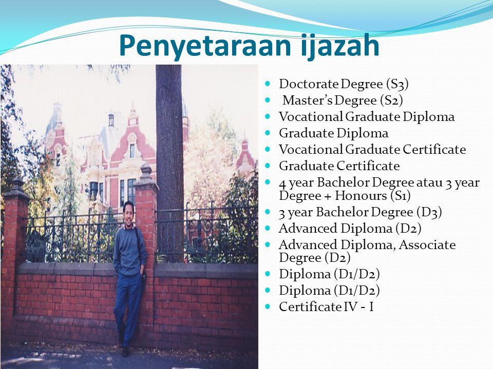 Penyetaraan ijazah Doctorate Degree (S3) Master's Degree (S2) Vocational Graduate Diploma Graduate Diploma Vocational Graduate Certificate Graduate Ce