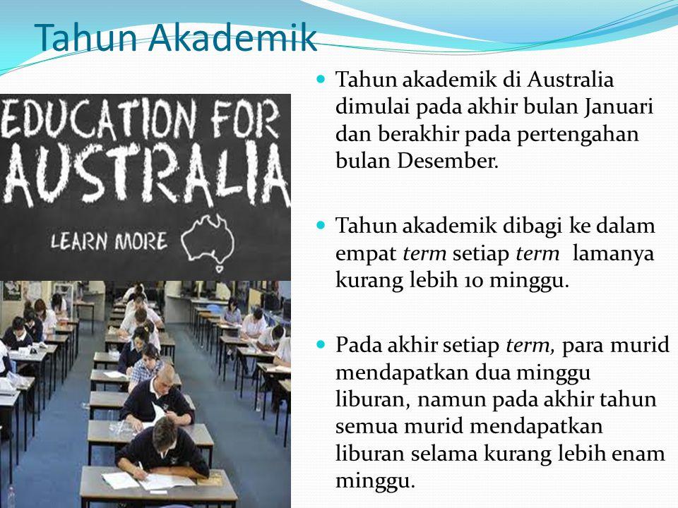 Tahun Akademik Tahun akademik di Australia dimulai pada akhir bulan Januari dan berakhir pada pertengahan bulan Desember. Tahun akademik dibagi ke dal