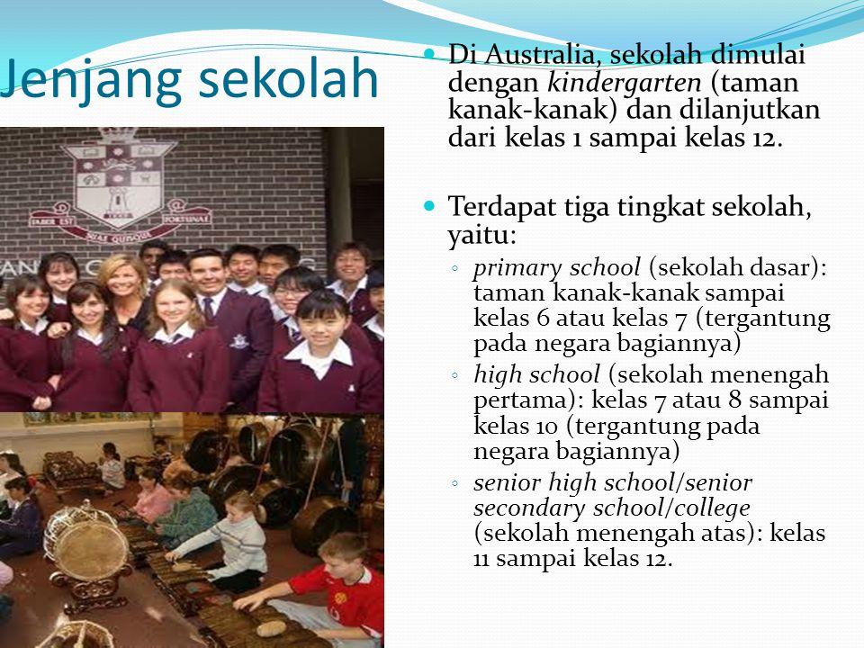 Jenjang sekolah Di Australia, sekolah dimulai dengan kindergarten (taman kanak-kanak) dan dilanjutkan dari kelas 1 sampai kelas 12. Terdapat tiga ting