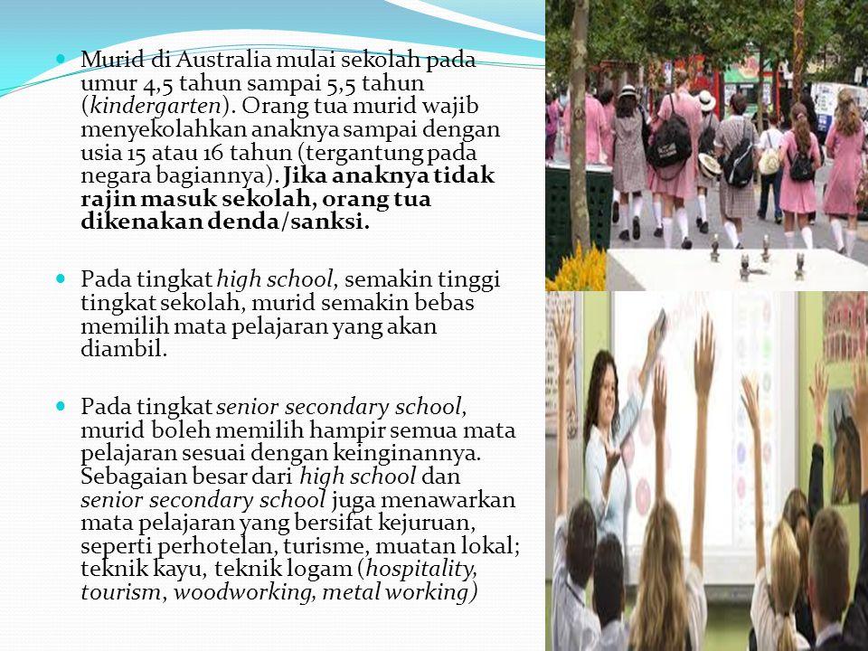 Murid di Australia mulai sekolah pada umur 4,5 tahun sampai 5,5 tahun (kindergarten). Orang tua murid wajib menyekolahkan anaknya sampai dengan usia 1