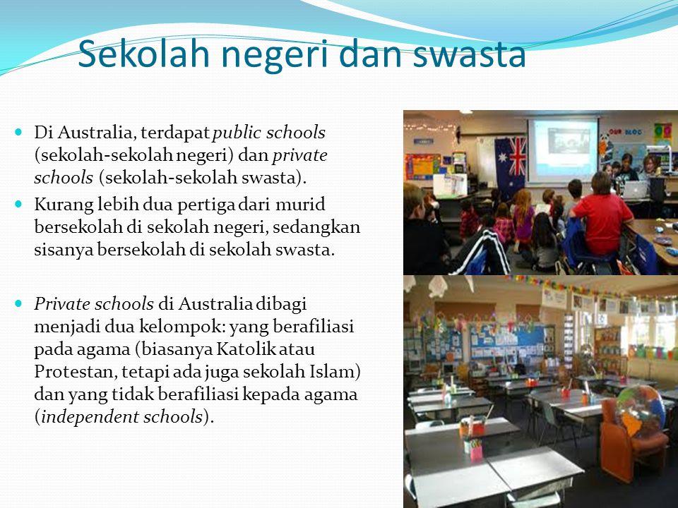 Sekolah negeri dan swasta Di Australia, terdapat public schools (sekolah-sekolah negeri) dan private schools (sekolah-sekolah swasta). Kurang lebih du