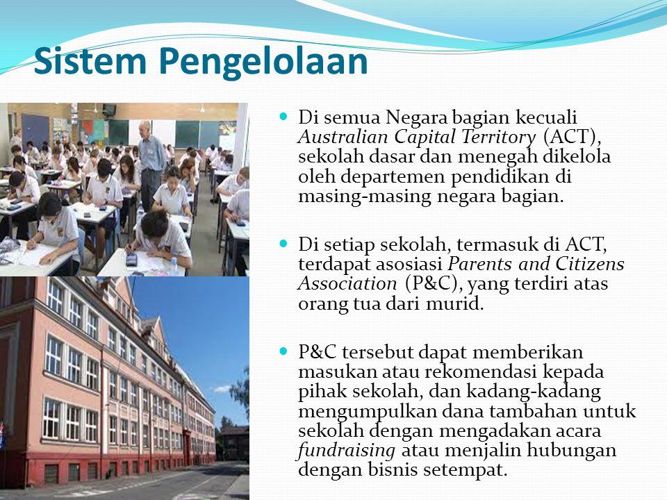 Sistem Pengelolaan Di semua Negara bagian kecuali Australian Capital Territory (ACT), sekolah dasar dan menegah dikelola oleh departemen pendidikan di