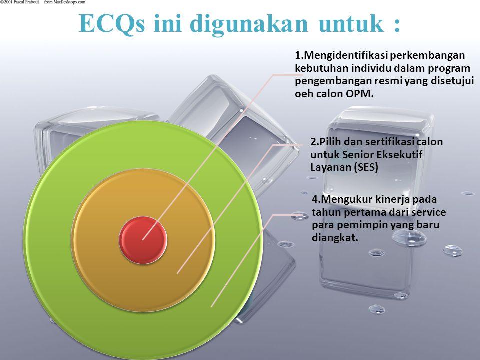 ECQs ini digunakan untuk : 1.Mengidentifikasi perkembangan kebutuhan individu dalam program pengembangan resmi yang disetujui oeh calon OPM.