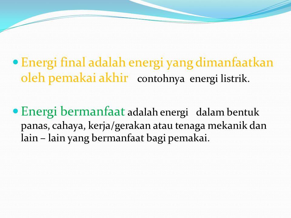 Energi final adalah energi yang dimanfaatkan oleh pemakai akhir contohnya energi listrik. Energi bermanfaat adalah energi dalam bentuk panas, cahaya,