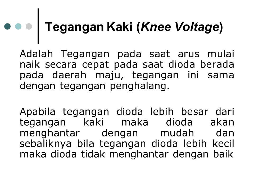 Tegangan Kaki (Knee Voltage) Adalah Tegangan pada saat arus mulai naik secara cepat pada saat dioda berada pada daerah maju, tegangan ini sama dengan