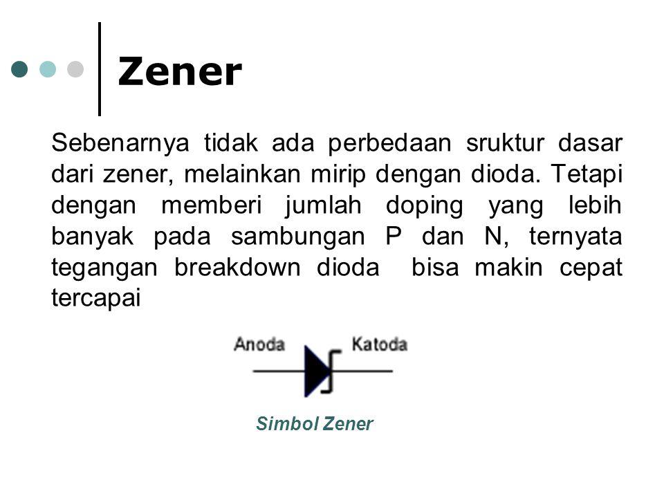 Zener Sebenarnya tidak ada perbedaan sruktur dasar dari zener, melainkan mirip dengan dioda. Tetapi dengan memberi jumlah doping yang lebih banyak pad