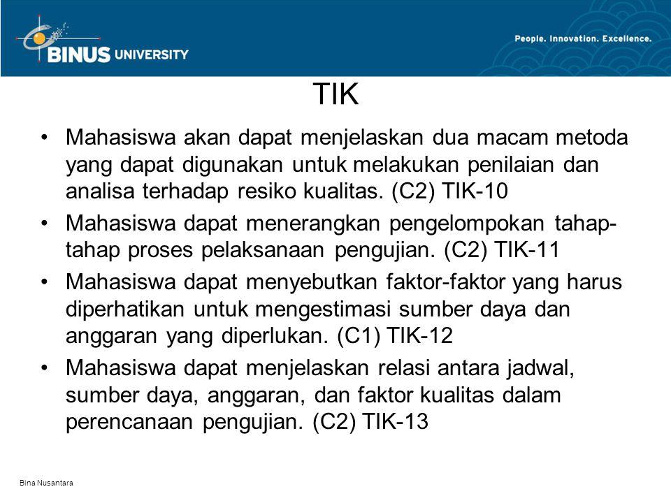 Bina Nusantara TIK Mahasiswa akan dapat menjelaskan dua macam metoda yang dapat digunakan untuk melakukan penilaian dan analisa terhadap resiko kualit