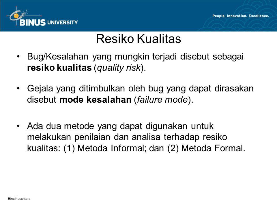 Bina Nusantara Resiko Kualitas Bug/Kesalahan yang mungkin terjadi disebut sebagai resiko kualitas (quality risk). Gejala yang ditimbulkan oleh bug yan