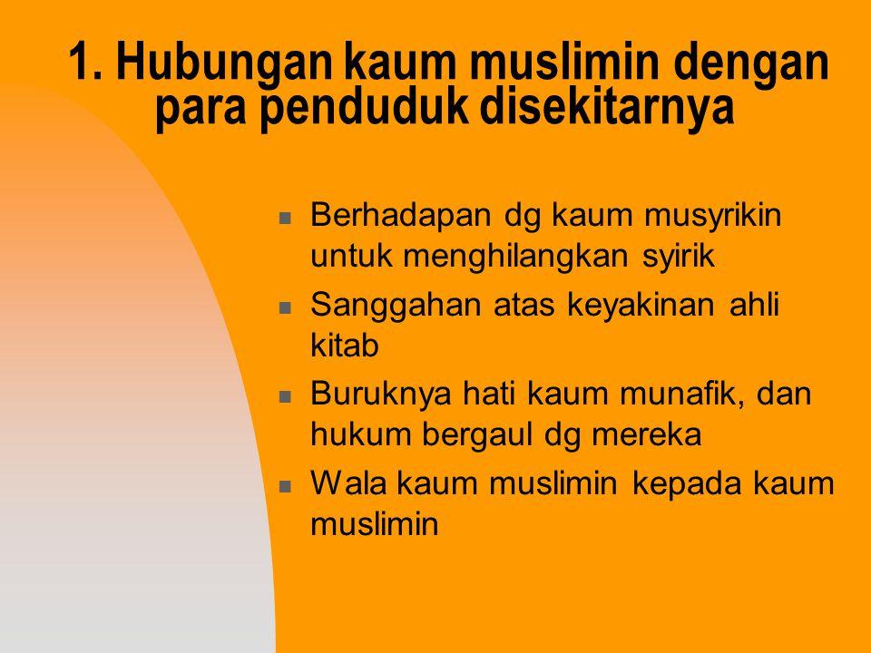 1. Hubungan kaum muslimin dengan para penduduk disekitarnya Berhadapan dg kaum musyrikin untuk menghilangkan syirik Sanggahan atas keyakinan ahli kita