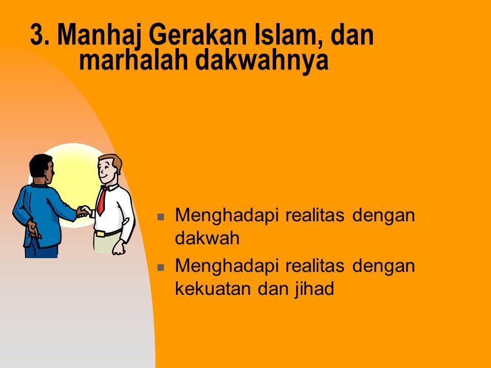 3. Manhaj Gerakan Islam, dan marhalah dakwahnya Menghadapi realitas dengan dakwah Menghadapi realitas dengan kekuatan dan jihad