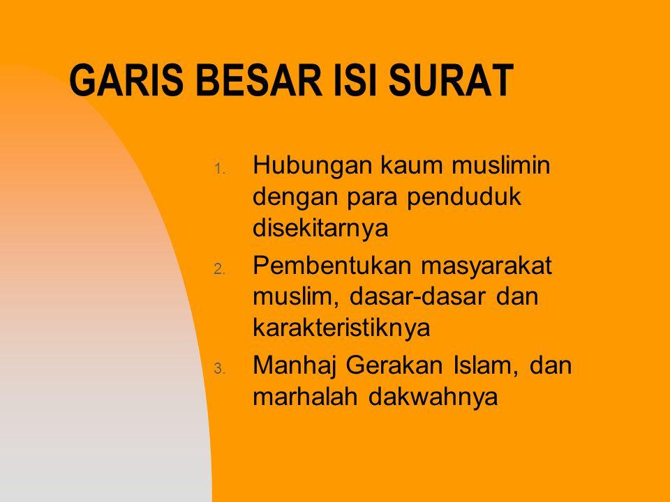 GARIS BESAR ISI SURAT 1. Hubungan kaum muslimin dengan para penduduk disekitarnya 2. Pembentukan masyarakat muslim, dasar-dasar dan karakteristiknya 3