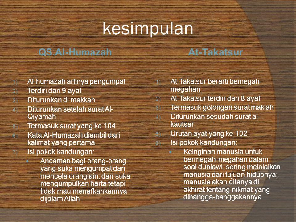 kesimpulan QS.Al-HumazahAt-Takatsur 1) Al-humazah artinya pengumpat 2) Terdiri dari 9 ayat 3) Diturunkan di makkah 4) Diturunkan setelah surat Al- Qiyamah 5) Termasuk surat yang ke 104 6) Kata Al-Humazah diambil dari kalimat yang pertama 7) Isi pokok kandungan: Ancaman bagi orang-orang yang suka mengumpat dan mencela oranglain, dan suka mengumpulkan harta tetapi tidak mau menafkahkannya dijalam Allah 1) At-Takatsur berarti bemegah- megahan 2) At-Takatsur terdiri dari 8 ayat 3) Termasuk golongan surat makiah 4) Diturunkan sesudah surat al- kautsar 5) Urutan ayat yang ke 102 6) Isi pokok kandungan: Keinginan manusia untuk bermegah-megahan dalam soal duniawi, sering melalaikan manusia dari tujuan hidupnya; manusia akan ditanya di akhirat tentang nikmat yang dibangga-banggakannya