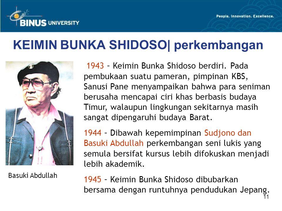 11 KEIMIN BUNKA SHIDOSO| perkembangan Basuki Abdullah 1943 – Keimin Bunka Shidoso berdiri. Pada pembukaan suatu pameran, pimpinan KBS, Sanusi Pane men