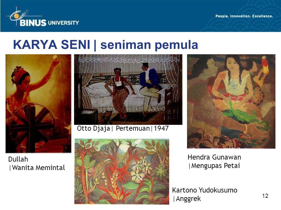 12 KARYA SENI | seniman pemula Hendra Gunawan |Mengupas Petai Dullah |Wanita Memintal Otto Djaja| Pertemuan|1947 Kartono Yudokusumo |Anggrek