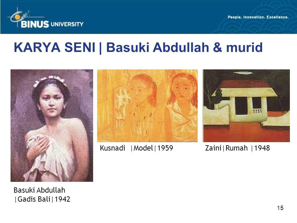 15 KARYA SENI | Basuki Abdullah & murid Basuki Abdullah |Gadis Bali|1942 Zaini|Rumah |1948Kusnadi |Model|1959
