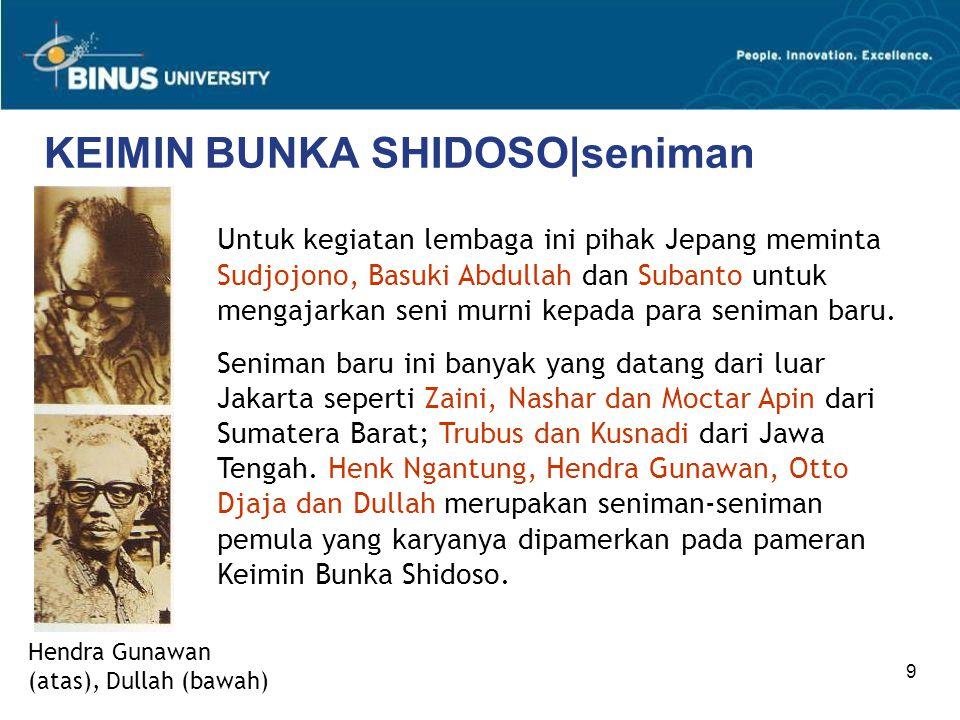 9 KEIMIN BUNKA SHIDOSO|seniman Hendra Gunawan (atas), Dullah (bawah) Untuk kegiatan lembaga ini pihak Jepang meminta Sudjojono, Basuki Abdullah dan Subanto untuk mengajarkan seni murni kepada para seniman baru.