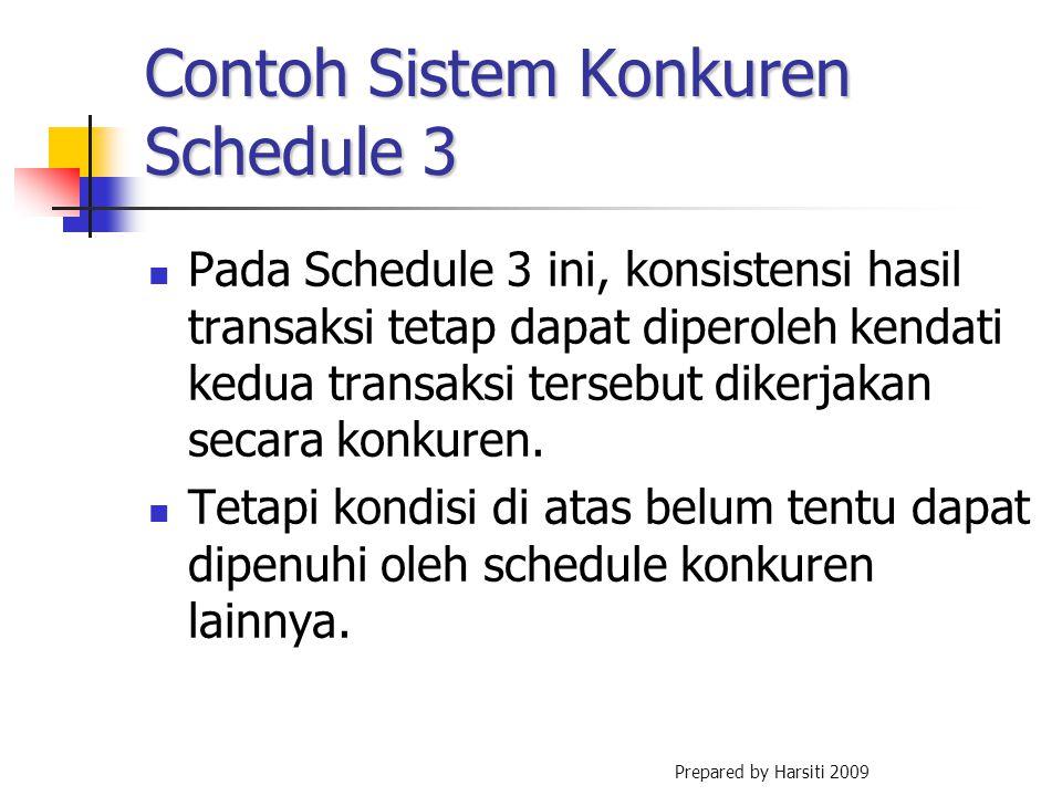 Contoh Sistem Konkuren Schedule 3 Pada Schedule 3 ini, konsistensi hasil transaksi tetap dapat diperoleh kendati kedua transaksi tersebut dikerjakan s