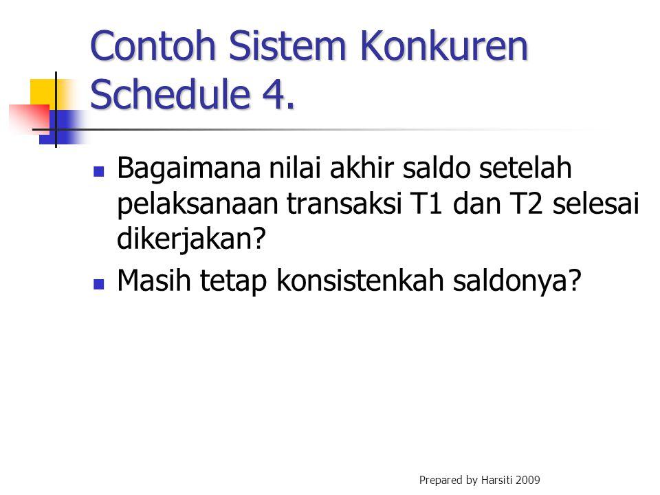 Contoh Sistem Konkuren Schedule 4. Bagaimana nilai akhir saldo setelah pelaksanaan transaksi T1 dan T2 selesai dikerjakan? Masih tetap konsistenkah sa