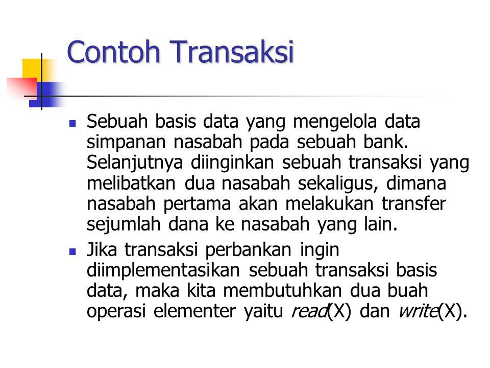 Contoh Transaksi Sebuah basis data yang mengelola data simpanan nasabah pada sebuah bank. Selanjutnya diinginkan sebuah transaksi yang melibatkan dua