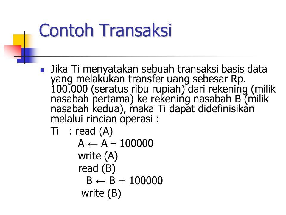 Contoh Transaksi Jika Ti menyatakan sebuah transaksi basis data yang melakukan transfer uang sebesar Rp. 100.000 (seratus ribu rupiah) dari rekening (