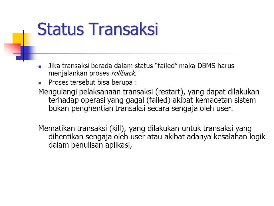 """Status Transaksi Jika transaksi berada dalam status """"failed"""" maka DBMS harus menjalankan proses rollback. Proses tersebut bisa berupa : Mengulangi pel"""
