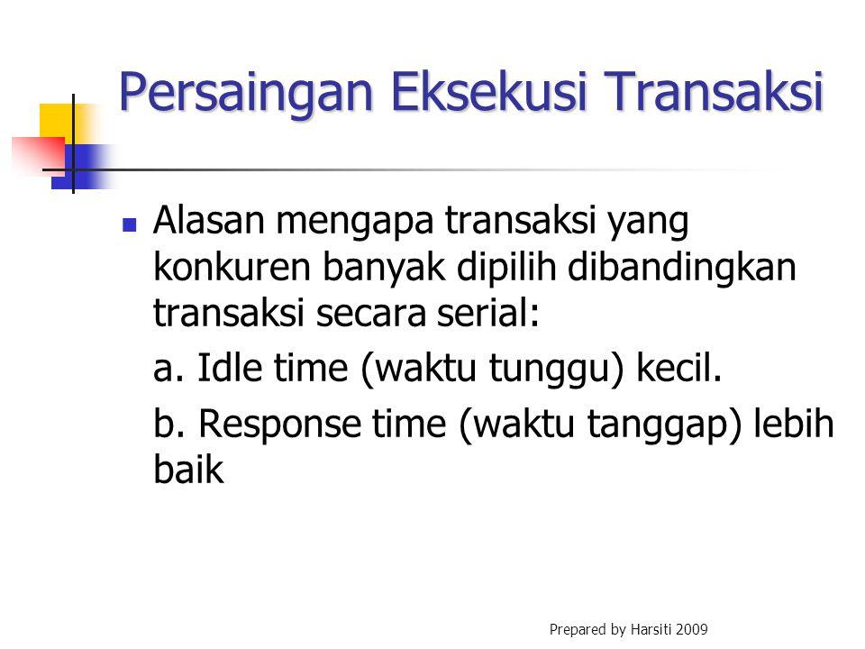 Persaingan Eksekusi Transaksi Alasan mengapa transaksi yang konkuren banyak dipilih dibandingkan transaksi secara serial: a. Idle time (waktu tunggu)