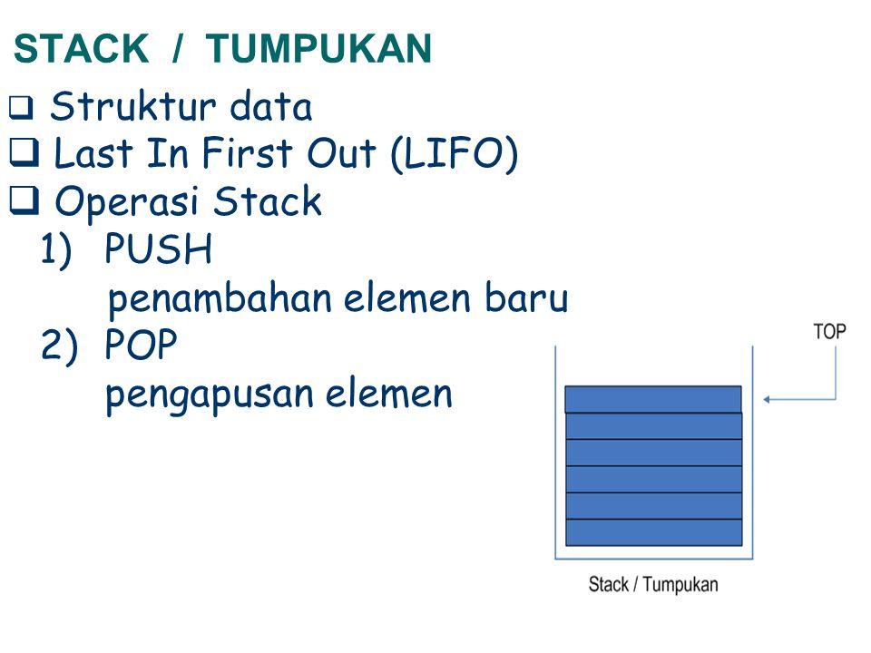 STACK / TUMPUKAN  Struktur data  Last In First Out (LIFO)  Operasi Stack 1)PUSH penambahan elemen baru 2)POP pengapusan elemen