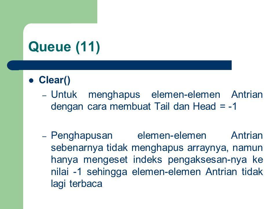 Queue (11) Clear() – Untuk menghapus elemen-elemen Antrian dengan cara membuat Tail dan Head = -1 – Penghapusan elemen-elemen Antrian sebenarnya tidak