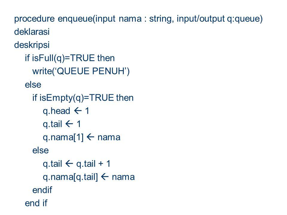 procedure enqueue(input nama : string, input/output q:queue) deklarasi deskripsi if isFull(q)=TRUE then write('QUEUE PENUH') else if isEmpty(q)=TRUE t