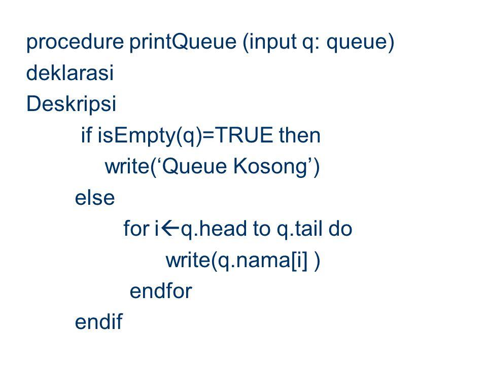 procedure printQueue (input q: queue) deklarasi Deskripsi if isEmpty(q)=TRUE then write('Queue Kosong') else for i  q.head to q.tail do write(q.nama[
