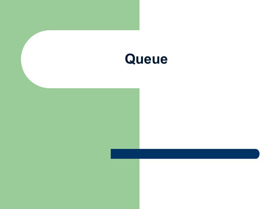 Queue Dengan Array Bersifat FIFO Elemen yang pertama masuk ke antrian akan keluar pertama kalinya DEQUEUE adalah mengeluarkan satu elemen dari suatu Antrian Antrian dapat dibuat dengan menggunakan: Liniear Array dan Circular Array