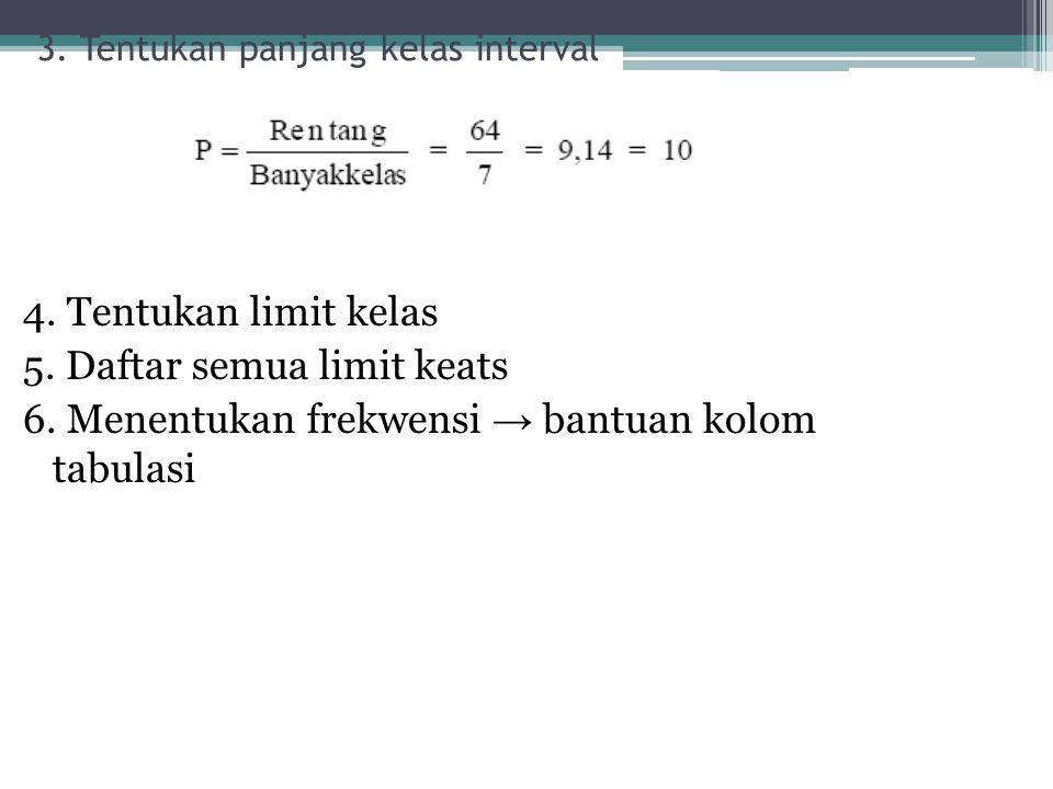 3. Tentukan panjang kelas interval 4. Tentukan limit kelas 5. Daftar semua limit keats 6. Menentukan frekwensi → bantuan kolom tabulasi
