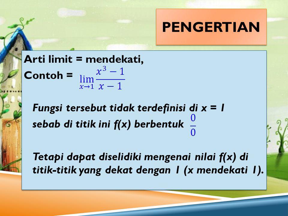 PENGERTIAN Arti limit = mendekati, Contoh = Fungsi tersebut tidak terdefinisi di x = 1 sebab di titik ini f(x) berbentuk Tetapi dapat diselidiki menge