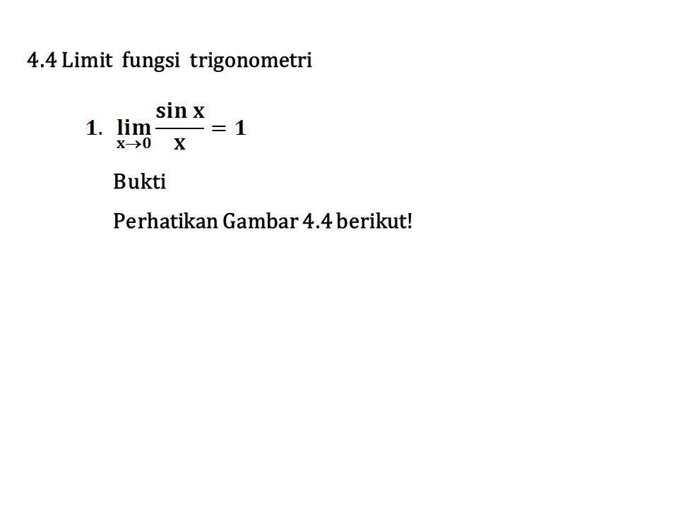4.4 Limit fungsi trigonometri Bukti Perhatikan Gambar 4.4 berikut!