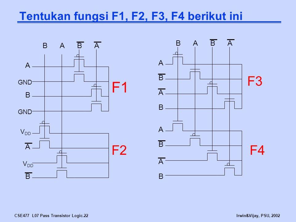 CSE477 L07 Pass Transistor Logic.22Irwin&Vijay, PSU, 2002 Tentukan fungsi F1, F2, F3, F4 berikut ini A A B B B F3 F4 A A B B A A B F2 F1 A A B BABA GN