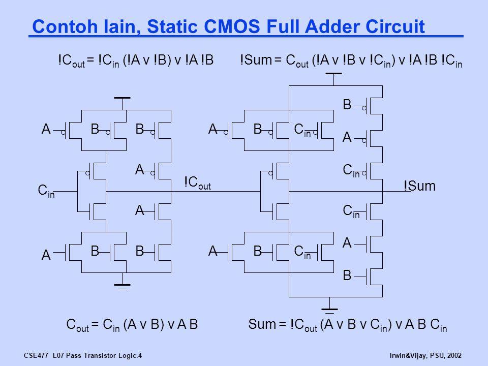 CSE477 L07 Pass Transistor Logic.5Irwin&Vijay, PSU, 2002 Bentuk lain desain IC VLSI NMOS Transistors in Series/Parallel AB XY X = Y if A and B XY A B X = Y if A or B
