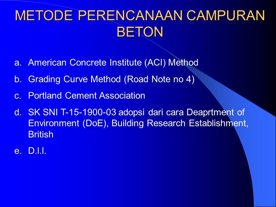 METODE PERENCANAAN CAMPURAN BETON a.American Concrete Institute (ACI) Method b.Grading Curve Method (Road Note no 4) c.Portland Cement Association d.S