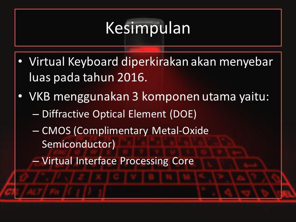 Kesimpulan Virtual Keyboard diperkirakan akan menyebar luas pada tahun 2016. VKB menggunakan 3 komponen utama yaitu: – Diffractive Optical Element (DO