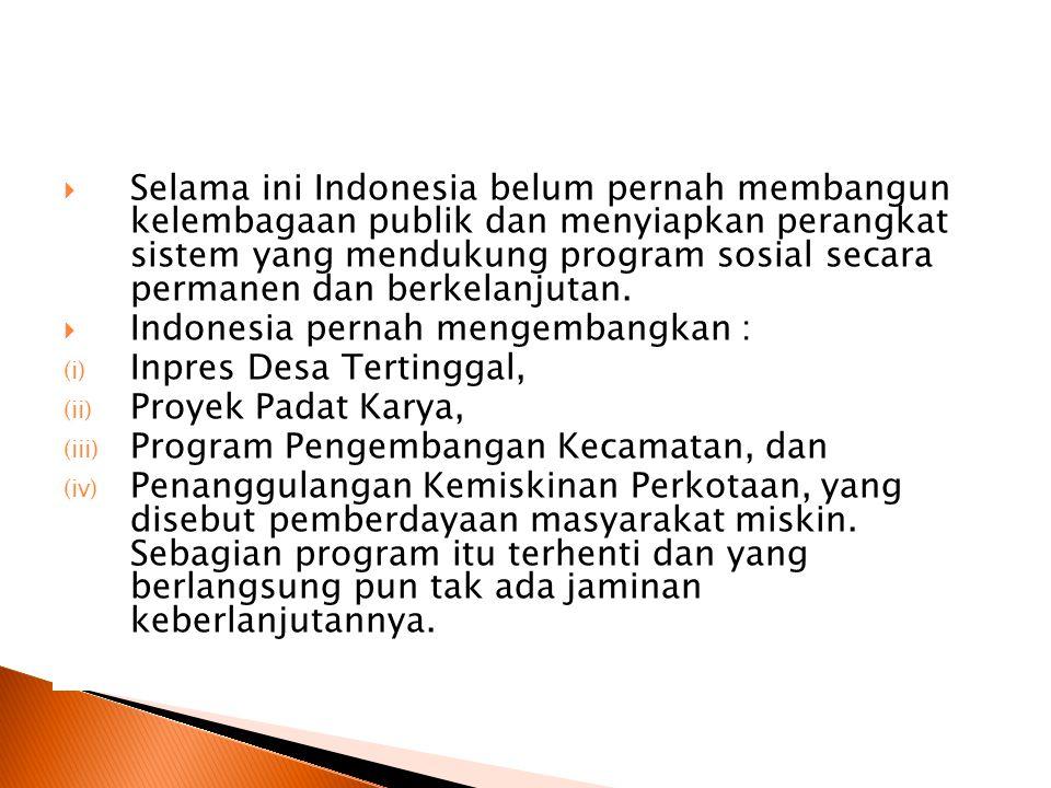  Selama ini Indonesia belum pernah membangun kelembagaan publik dan menyiapkan perangkat sistem yang mendukung program sosial secara permanen dan berkelanjutan.