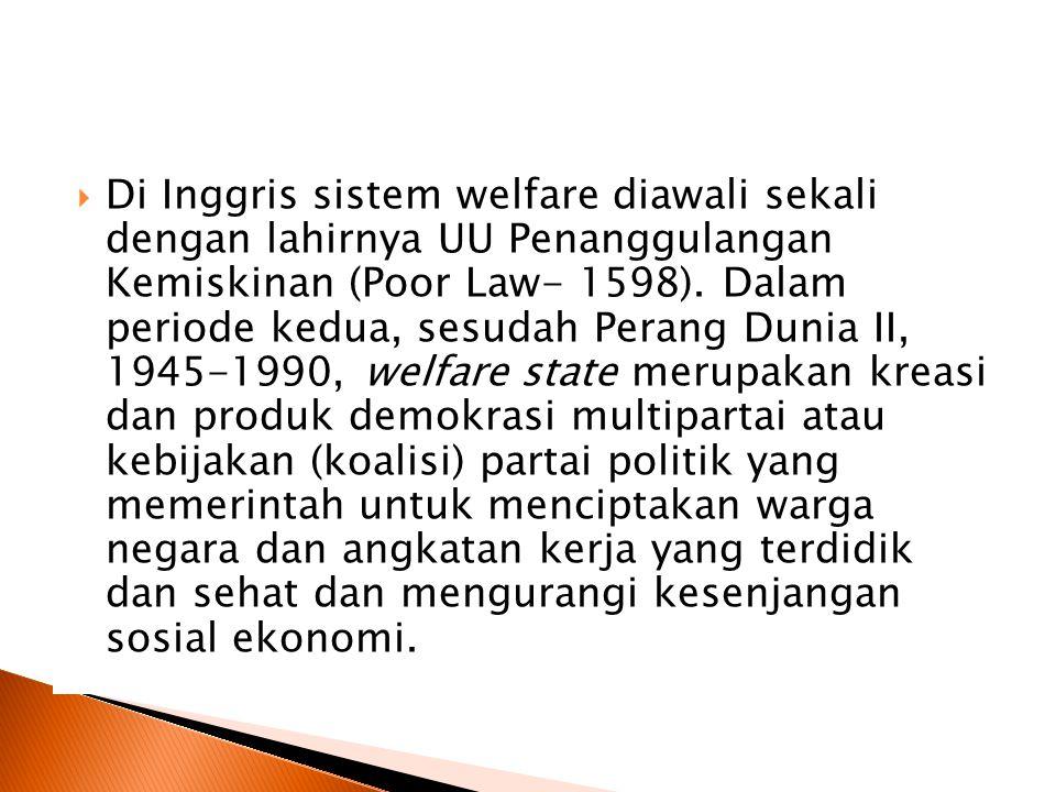  Di Inggris sistem welfare diawali sekali dengan lahirnya UU Penanggulangan Kemiskinan (Poor Law- 1598).