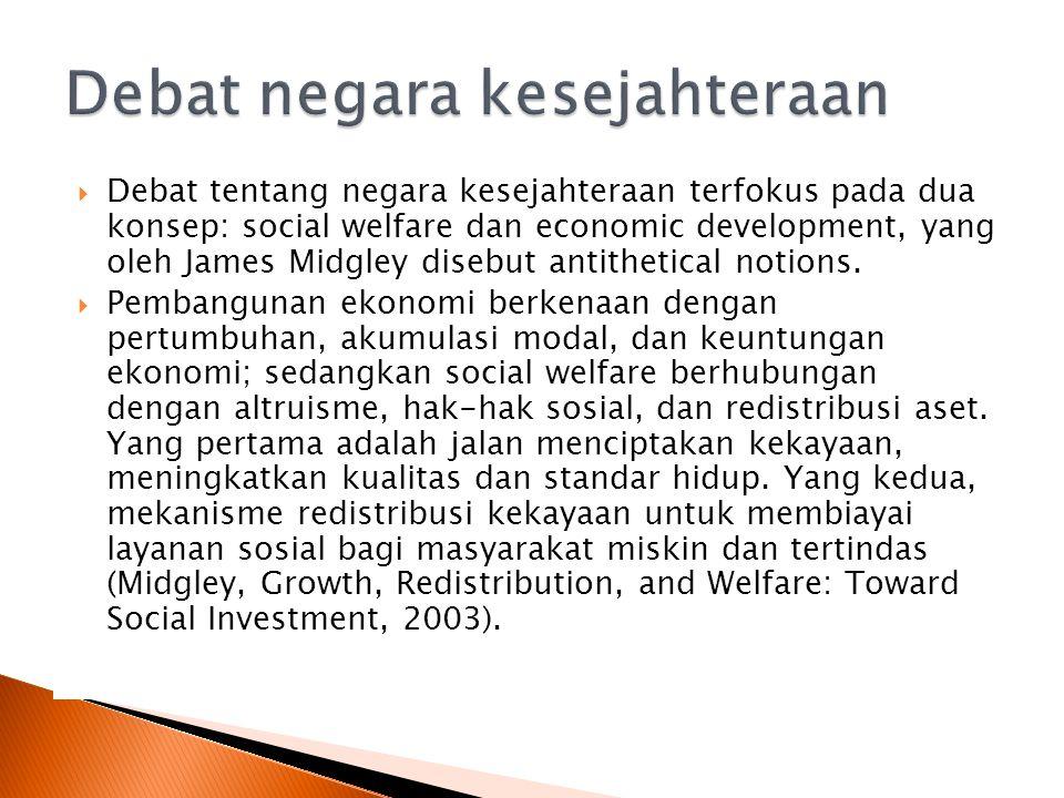  Debat tentang negara kesejahteraan terfokus pada dua konsep: social welfare dan economic development, yang oleh James Midgley disebut antithetical notions.